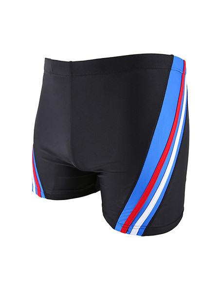 Black and Blue Drawstring Contrast Trunks Polyester Swim Shorts Swimwear