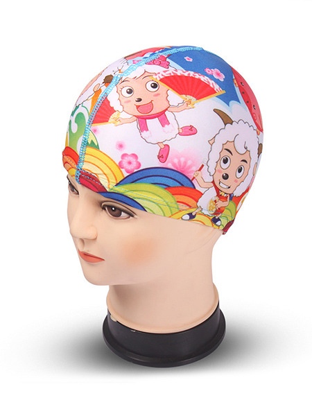 Colorful Children Commom Cartoon Cap Girl Swimwear for Swimming