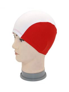 Red and White Women Contrast Cap Swimwear for Swimming