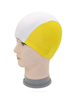 White and Yellow Adults Unisex Contrast Cap Swimwear for Swimming