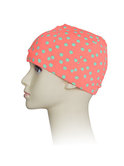 Pink Polka Dot Women Contrast Wave Point Cap Swimwear for Swimming Snorkeling