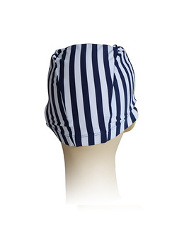 Black and White Adults Unisex Contrast Stripe Cap Swimwear for Swimming