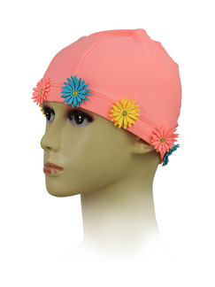 Pink Colorful Girl Flanger Flowers Cap Swimwear for Swimming