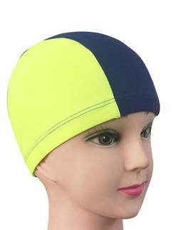 Blue and Yellow Children Commom Contrast Cap Swimwear for Swimming