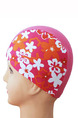 Pink Colorful Girl Located Printing Cap Swimwear for Swimming