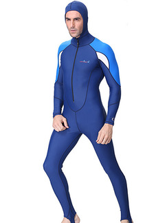 Blue Men Plus Size Hooded Tight Sun Protection Waterproof Jumpsuit Swimwear for Diving