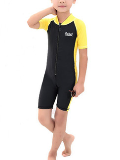 Black and Yellow Children Common Siamese Contrast Linking Stand Collar Jumpsuit Swimwear for Swimming Snorkeling