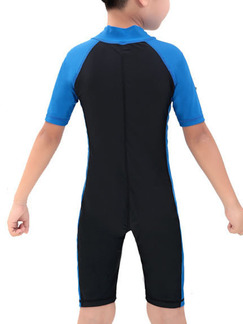 Blue and Black Boy Siamese Contrast Linking Stand Collar Jumpsuit Swimwear for Swimming Snorkeling
