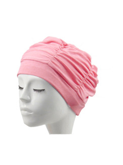 Pink Women Long-Hair Ear Protection Cap Swimwear for Swimming