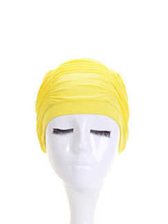 Yellow Women Long-Hair Ear Protection Cap Swimwear for Swimming