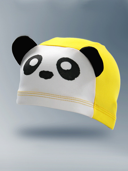 White Black and Yellow Children Common Cartoon Contrast Cap Swimwear for Swimming