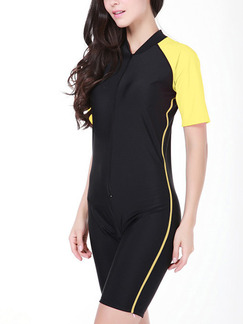 Black and Yellow Women Plus Size Contrast Siamese Stand Collar Chest Pad Jumpsuit Swimwear for Swimming Diving