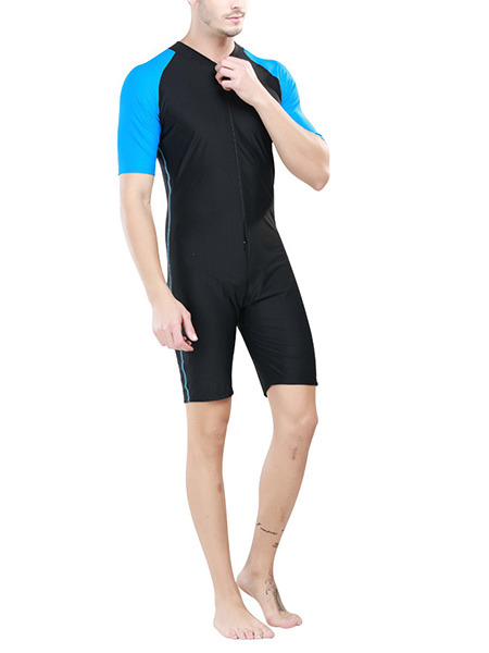 Black and Blue Men Plus Size Contrast Stand Collar Jumpsuit Swimwear for Swimming Diving