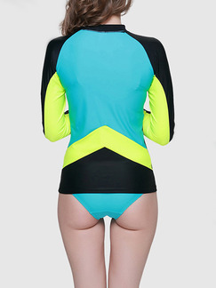 Black and Yellow Green Women Slim Contrast Outdoor Sun Protection Rashguard Swimwear for Swimming Surfing