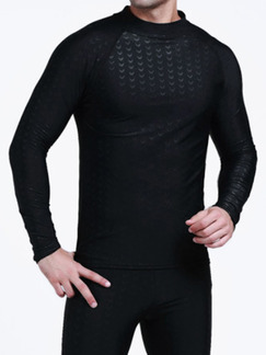 Black Men Plus Size Slim Shark Skin Round Neck Rashguard Swimwear for Swimming Surfing