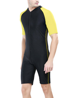 Black and Yellow Plus Size Tight Contrast Sun Protection Stand Collar Jumpsuit Men Swimwear for Swimming Diving