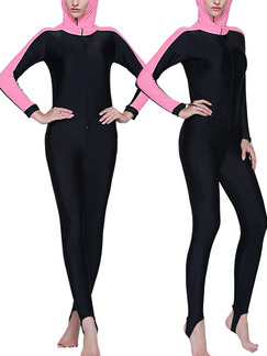 Pink and Black Women Plus Size Contrast Tight Hooded Trample Jumpsuit Swimwear for Swimming Diving