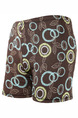 Brown Plus Size Contrast Printed Swim Shorts Swimwear for Swimming