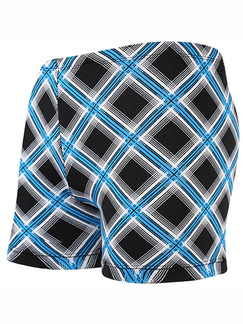 Black and Blue White Plus Size Contrast Printed Swim Shorts Swimwear for Swimming