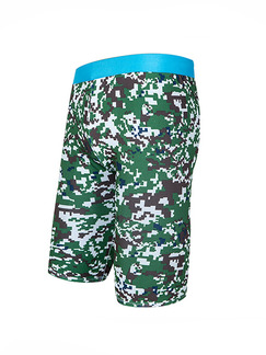 Green and Blue Plus Size Contrast Camouflage Swim Shorts Swimwear for Swimming