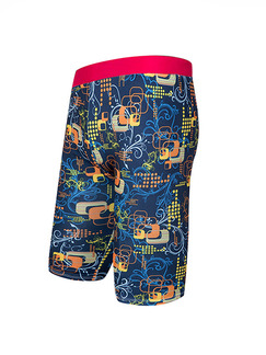 Blue and Red Colorful Plus Size Contrast Printed Swim Shorts Swimwear for Swimming