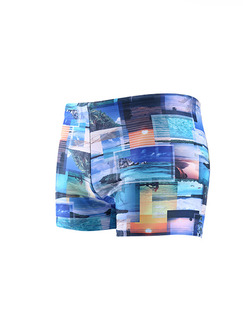 Colorful Plus Size Printed Quick Dry Adjustable Waist Swim Shorts Swimwear for Swimming