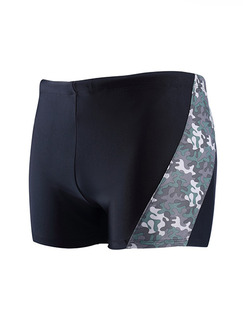 Black Plus Size Linking Camouflage Side Quick Dry Swim Shorts Swimwear for Swimming