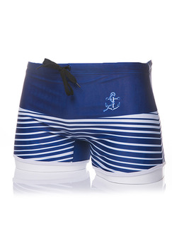 Blue and White Plus Size Contrast Stripe Band Belt Swim Shorts Swimwear for Swimming