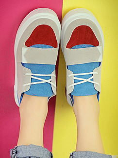 White Red and Blue Suede Round Toe Platform Lace Up 3.5cm Rubber Shoes