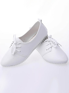 White Leather Round Toe Platform Lace Up 2cm Rubber Shoes