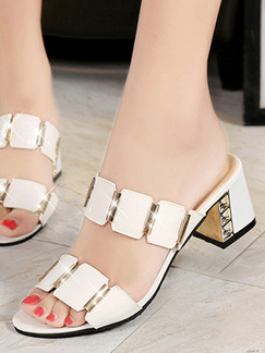 White Leather Open Toe Platform Chunky Heel 6cm Heels