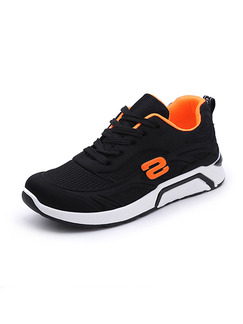 Black and White Orange Polyester Round Toe Platform Lace Up 3cm Rubber Shoes