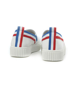 White Blue and Red Canvas Round Toe Platform 2cm Rubber Shoes