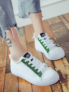 White and Green Canvas Round Toe Platform Lace Up 3cm Rubber Shoes