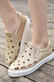 Beige and White Leather Round Toe Platform 3cm Sandals