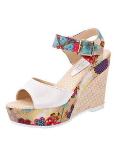 Colorful Leather Open Toe Platform 10cm Wedges