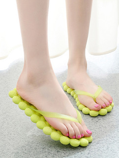 Yellow Green EVA Open Toe Platform 1cm Slippers