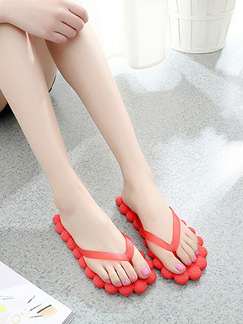 Red EVA Open Toe Platform 1cm Slippers