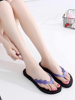 Violet and Black PE Open Toe Platform 1cm Slippers