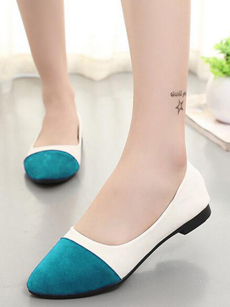 White and Green Suede Round Toe Platform 1.5cm Flats