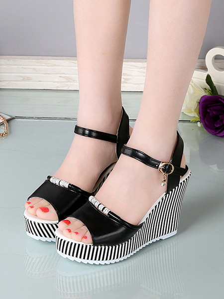 Black Grey and White Leather Peep Toe Platform Ankle Strap 10cm Wedges