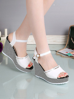 White Grey and Black Leather Peep Toe Platform Ankle Strap 10cm Wedges
