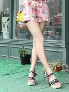 Colorful Leather Peep Toe Platform Ankle Strap 11cm Wedges