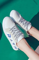White and Blue Leather Round Toe Platform Lace Up 2.5cm Rubber Shoes