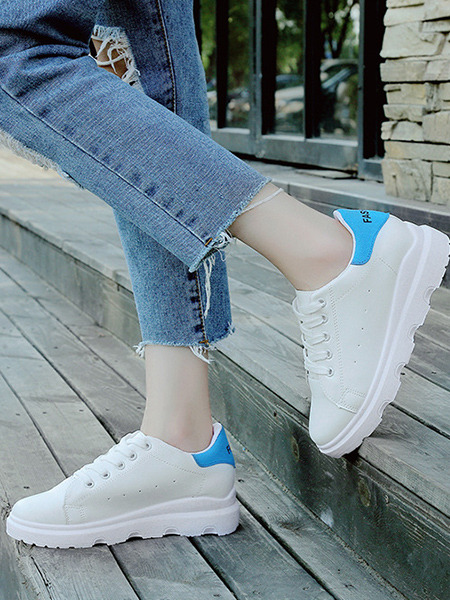 White and Blue Leather Round Toe Platform Lace Up 5cm Rubber Shoes