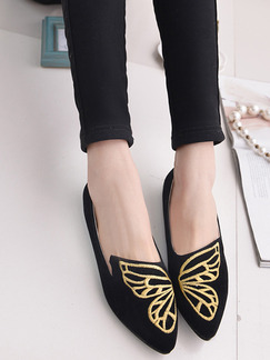 Black Suede Pointed Toe Platform 1cm Flats