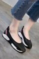 Black and White Leather Round Toe Platform 3cm Rubber Shoes