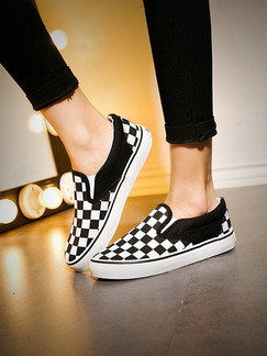 Black and White Canvas Round Toe Platform 2cm Rubber Shoes