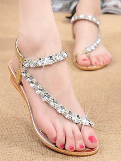 Brown Leather Open Toe Platform Rhinestone 3cm Sandals