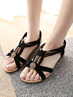 Black and Beige Suede Open Toe Platform 3.5cm Sandals